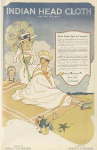 Indian Head Cloths ad, women at beach, Ladies' Home Journal, April 1920.