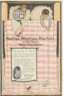 Nashua Woolnap Blankets ad, children in bed, Ladies' Home Journal, 1920.