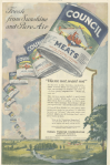 Council Meats ad, cans of meat flying through the sky, Ladies' Home Journal, 1920.