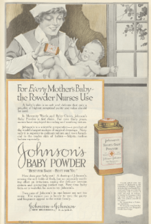 Johnson's Baby Powder ad, maid sprinkling powder on baby, Ladies' Home Journal, 1920.