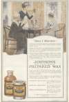 Johnson's Prepared Wax ad, maid holding up can of wax, Ladies' Home Journal, 1920.