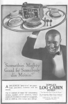 Log Cabin syrup advertisement, African-American servant with platter of food, Ladies' Home Journal, 1920.