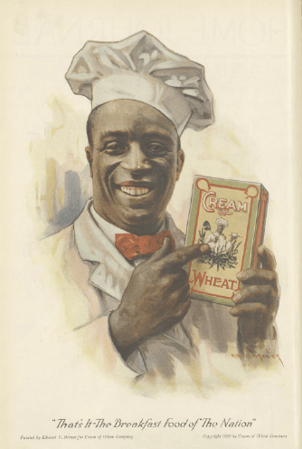 Cream of Wheat ad, chef pointing at box of cream of wheat, Ladies' Home Journal, 1920.