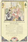 Hosiery ad, maid helping woman put on stocking, Ladies' Home Journal, 1920.