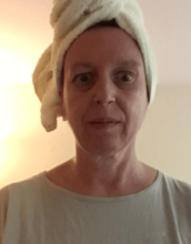 Mary Grace McGeehan, head in towel, May 2020.