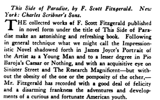 New Republic review, This Side of Paradise, F. Scott Fitzgerald, May 12, 1920.