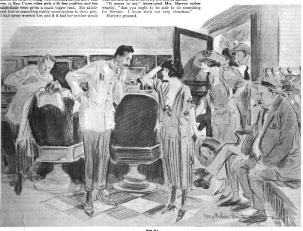 Bernice at barber shop, Bernice Bobs Her Hair, F. Scott Fitzgerald.