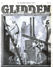 Glidden ad, men on scaffolding, Satruday Evening Post, May 1, 1920.