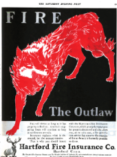 Hartford Fire Insurance ad, red wolf, May 1, 1920.