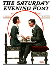 Saturday Evening Post cover, Norman Rockwell, May 1, 1920, man and woman at Ouija board.