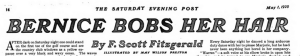 Headline, Bernice Bobs Her Hair by F. Scott Fitzgerald, Saturday Evening Post, May 1, 1920.