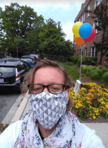 Mary Grace McGeehan outdoors in mask, May 2020.