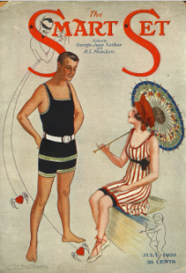 Cover, Smart Set, July 1920, man and woman in bathing suits.