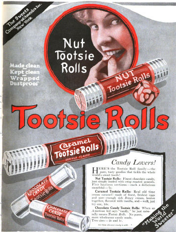 Tootsie Roll ad, Saturday Evening Post, May 22, 1920, woman putting candy in mouth.