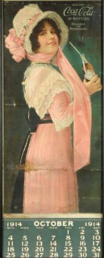 October 1914 Coca-Cola calendar, woman drinking through straw.