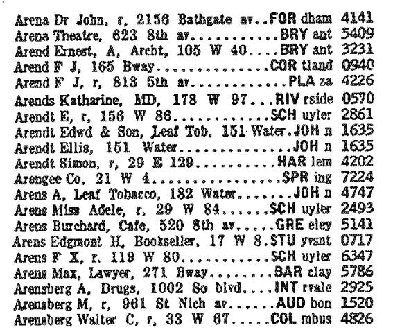 New York telephone directory listings, 1920.
