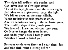 "Passage from ""India's Love Lyrics"" by Laurence Hope."