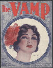 Sheet music for The Vamp, 1919, woman with flower in hair.