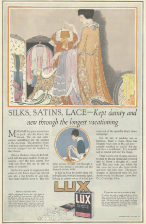 Lux soap ad, Ladies' Home Journal, 1920, woman packing clothes.
