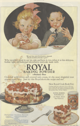 Royal Baking Powder ad, children eating cake, Ladies' Home Journal, 1920.
