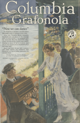 Columbia Granfola ad, man bringing Granfola to summer house, Ladies' Home Journal, 1920.