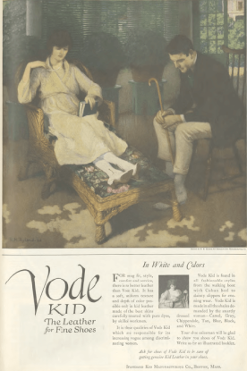 Vode Kid shoe ad, couple resting in living room, Ladies' Home Journal, 1920.