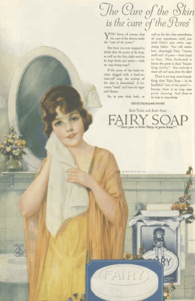 Fairy soap ad, woman drying herself with towel, Ladies' Home Journal, 1920.