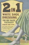 2 in 1 shoe polish ad, woman's foot in white shoes, Ladies' Home Journal, 1920.