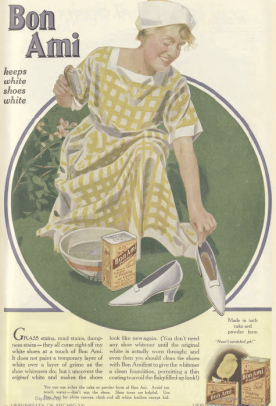 Bon Ami ad, maid cleaning white shoes, Ladies' Home Journal, 1920.