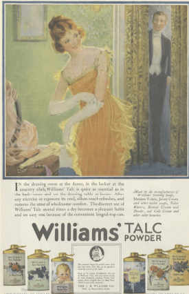 Williams' Talcum Powder ad, woman in dressing room with man in doorway, Ladies' Home Journal, 1920.