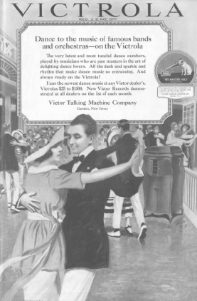 Victrola ad, people dancing at party, Ladies' Home Journal, 1920.