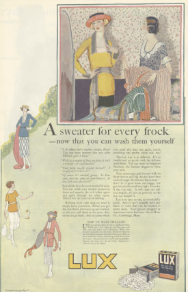 Lux soap ad, women standing on hill, Ladies' Home Journal, 1920.