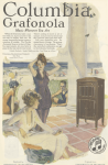 Columbia Grafonola ad, people at beach house listening to gramophone, Ladies' Home Journal, 1920.