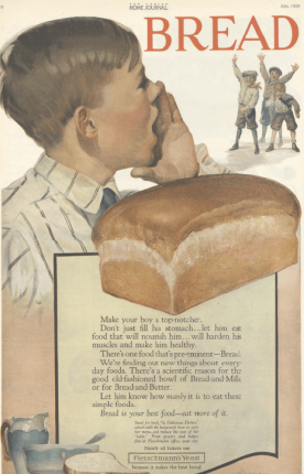Fleischmann's Yeast ad, boy calling friends, loaf of bread, Ladies' Home Journal, 1920.