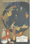 Vivaudou Maus fragrance ad, Ladies' Home Journal, 1920, woman looking at lanterns and fireworks.
