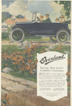 Overland car ad, family riding with the top down, Ladies' Home Journal, 1920.