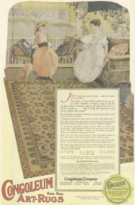 Congoleum linoleum ad, women sitting on porch, Ladies' Home Journal, 1920.
