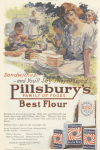 Pillsbury's flour ad, people at picnic with cakes, Ladies' Home Journal, 1920.