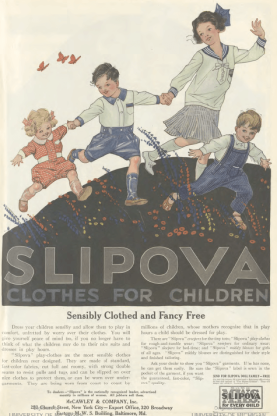 Slipova clothes for children ad, children playing outdoors, Ladies' Home Journal, 1920.