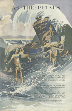 As-The-Petals talcum powder ad, women swimming in ocean, Ladies' Home Journal, 1920.