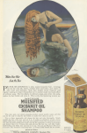 Mulsfield Cocoanut Oil Shampoo ad, woman with long hair looking at reflection in ocean, Ladies' Home Journal, 1920.