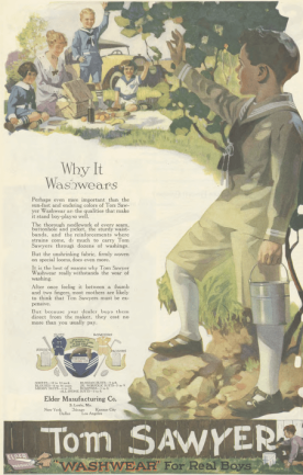 Tom Sawyer clothes ad, boy waving to people having picnic, Ladies' Home Journal, 1920.