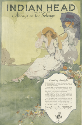Indian Head cloth ad, women sitting on hill, Ladies' Home Journal, 1920.