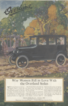Overland car ad, car driving through countryside, Ladies' Home Journal, 1920.