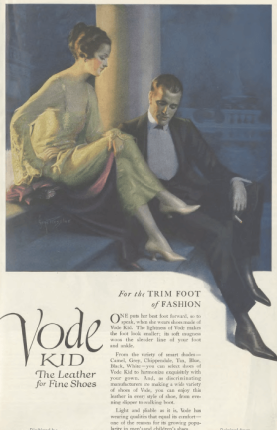 Vode shoe ad, man in evening clothes staring at woman's foot, Ladies' Home Journal, 1920.