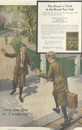 Compton Corduroy ad, boy arriving at school, Ladies' Home Journal, 1920.