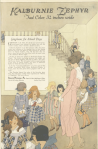 Kalburnie Zephyr gingham ad, girls with teacher at school, Ladies' Home Journal, 1920.