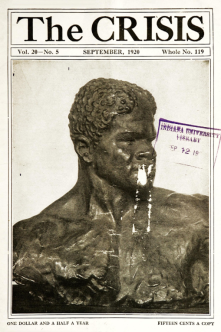 The Crisis, September 1920, photo of bust by C. Matey.
