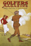 Golfers magazine, September 1920, man swinging golf club while woman watches.