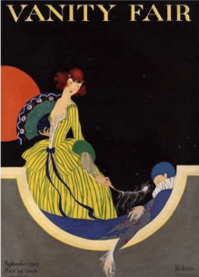 Vanity Fair cover, September 1915, Rita Senger, woman with sleeping Pierrot.